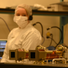 Megan Barrington and Mastcam-Z in the Malin Space Science Systems Clean Room