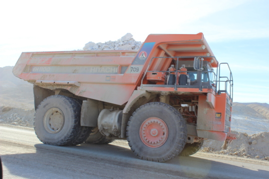 Truck hauling gypsum at location of first field test of the Planetary Deep Drill
