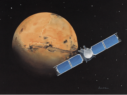 Mars Global Surveyor art by Jackie Burns