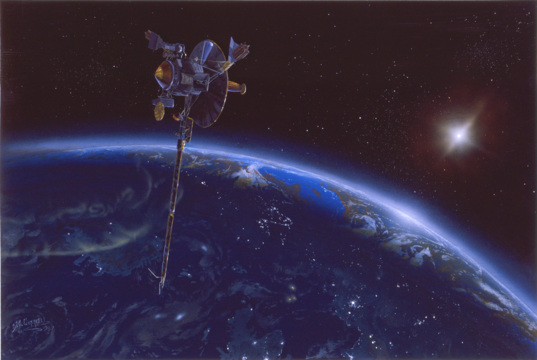 Galileo flies by Earth