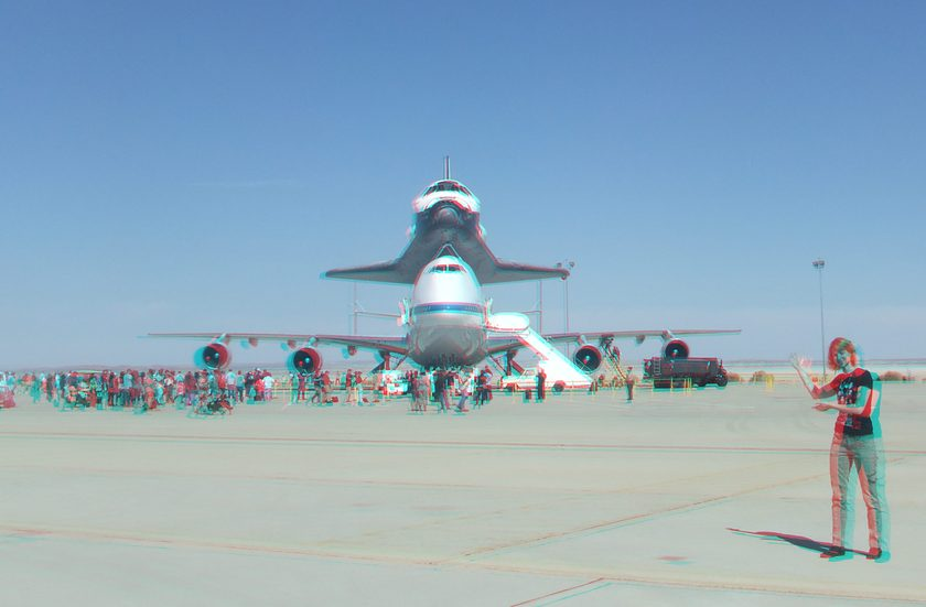 3D Anaglyph of Space Shuttle Endeavour and Emily Lakdawalla at Edwards Air Force Base, September 20, 2012 (#5706)