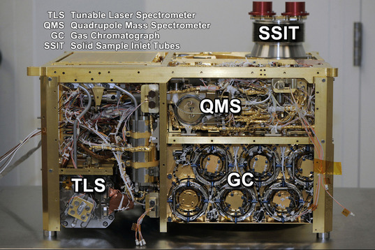 Curiosity's SAM instrument, from the side (annotated)