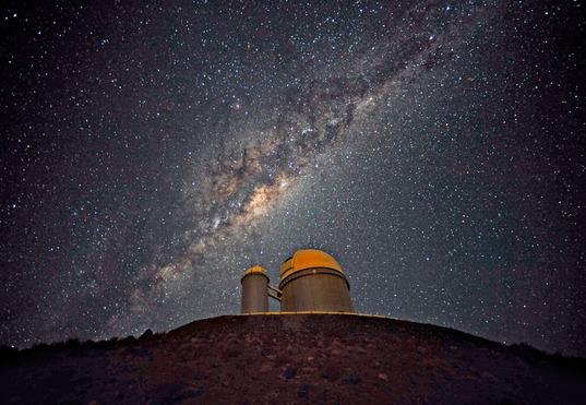 The 3.6 meter telescope dome in La Silla, Chile