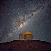 The 3.6 meter telescope dome in La Silla, Chile
