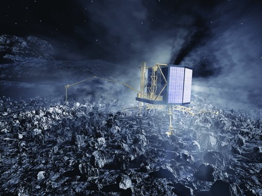 Philae on the comet (pre-mission artwork)