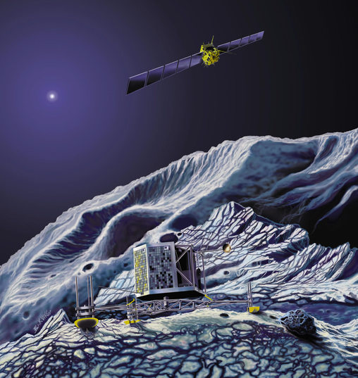 Artist's concept of Philae on the comet with Rosetta above