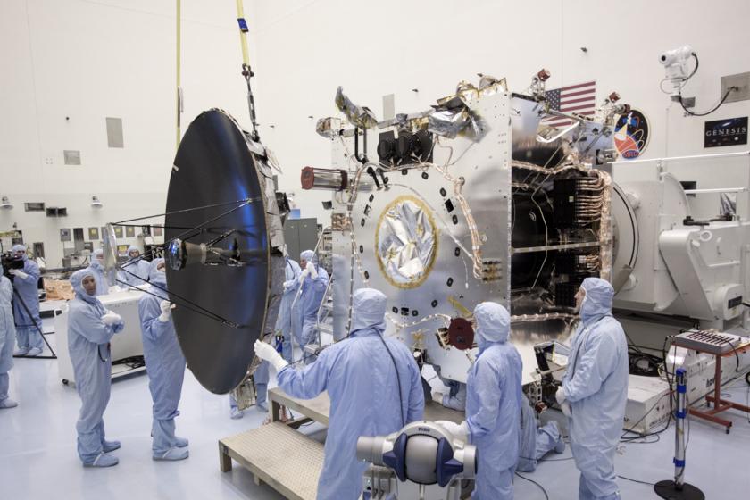 Attaching MAVEN's high-gain antenna, August 9, 2013