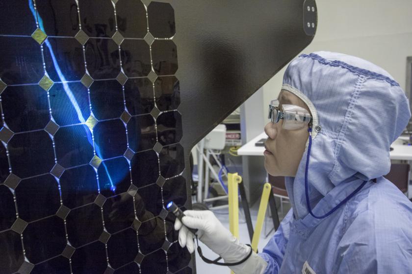 Inspecting MAVEN's solar panels, August 20, 2013