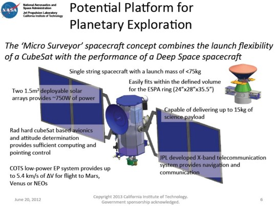 Conceptual Design for JPL's Micro Surveyor Planetary Spacecraft