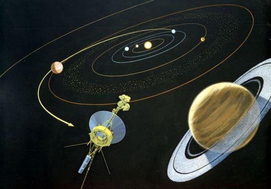 Mariner-Jupiter-Saturn 1977 Spacecraft Artwork, 1975