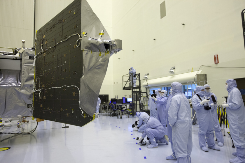 MAVEN with solar panels open in the clean room for the last time (back)