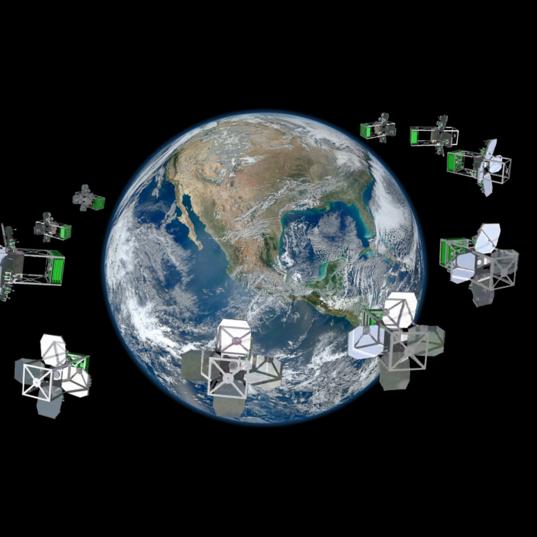 Concept Network of Nanosats in Orbit Around Earth