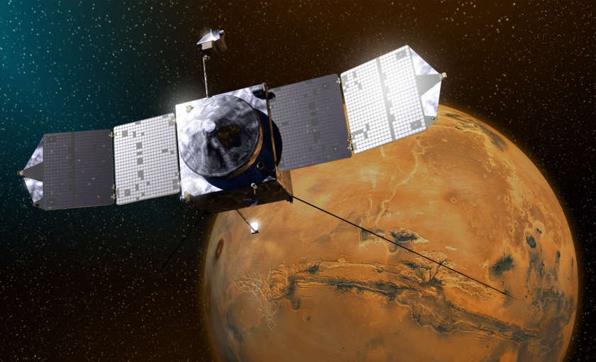 Artist concept of MAVEN at Mars