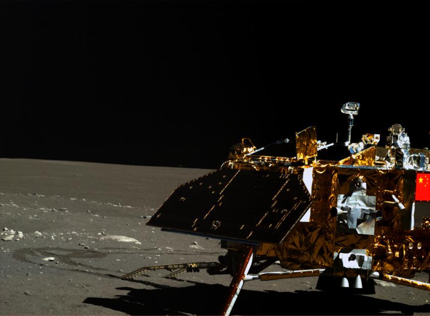 Yutu image of Chang'e 3 lander, lunar day 3 (right eye)