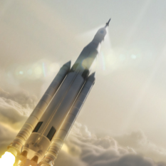 SLS pierces the clouds