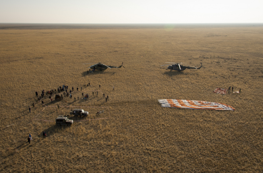 Soyuz TMA-12M on the Kazakhstan steppe