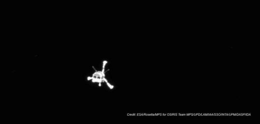 Philae lander from OSIRIS camera on Rosetta orbiter