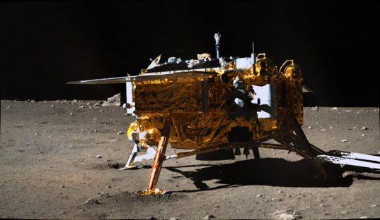 Side of the Chang'e-3 lander from Yutu, December 15, 2013