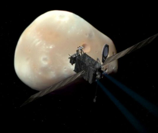 Artist's concept of the PANDORA spacecraft in front of Deimos