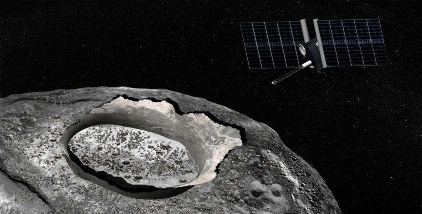 Artist's concept of asteroid Psyche and spacecraft