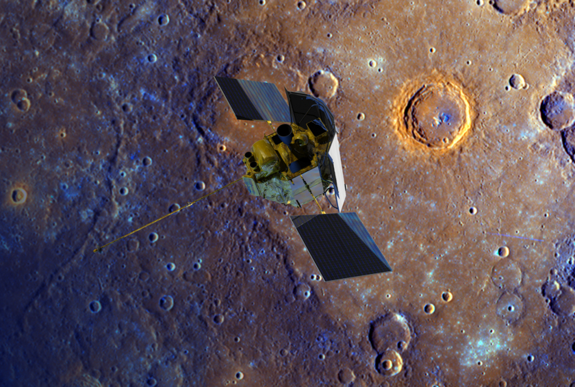Artist's concept of MESSENGER at Mercury