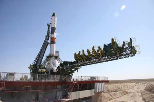 Progress M-28M on the pad