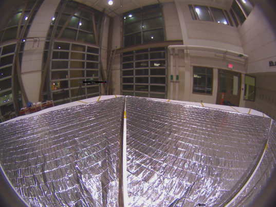 LightSail testing full deployment (sail edges hand-smoothed)