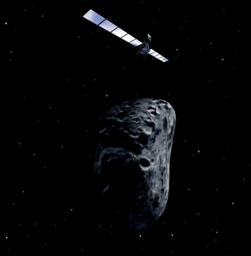 Rosetta flies by an asteroid