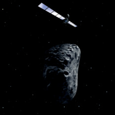 Rosetta flies by an asteroid