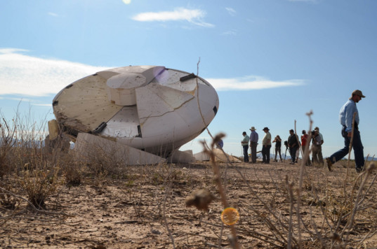 Orion test capsule on the ground after parachute test - 2