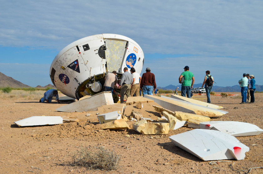 Orion test capsule on the ground after parachute test - 1
