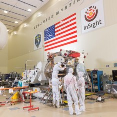 OSIRIS-REx team working on spacecraft