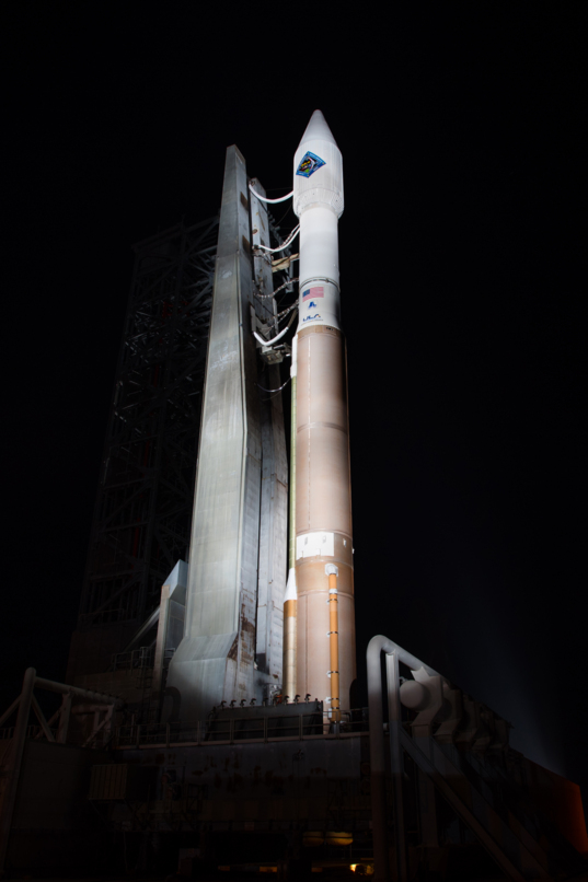 Atlas V and Cygnus on the pad at night