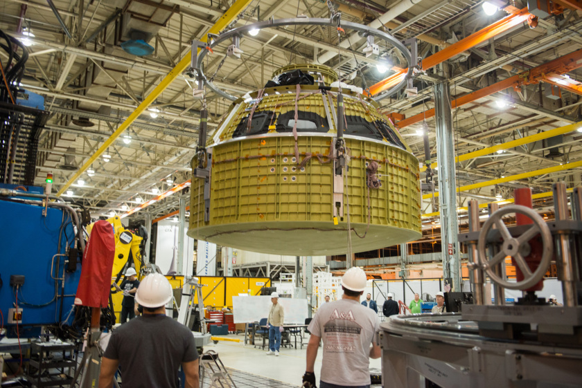 Orion EM-1 completed pressure vessel at Michoud