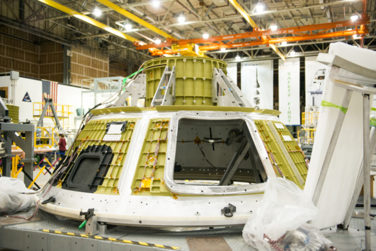 Orion EM-1 cone panels welded to forward bulkhead and tunnel