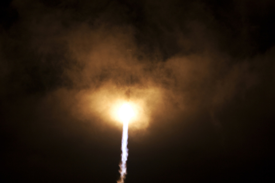 Orbital ATK Cygnus CRS-6 launch: disappearing into clouds