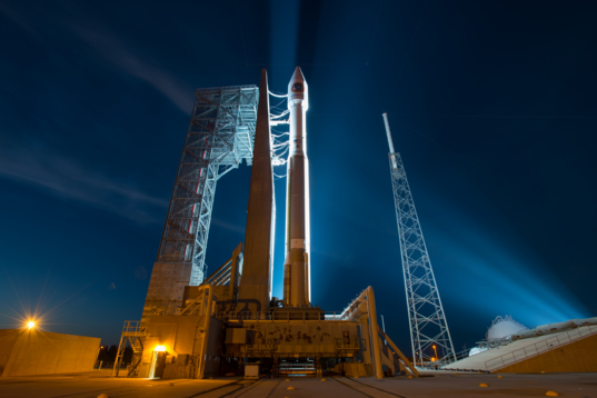 Atlas V stands ready before Orbital ATK Cygnus CRS-6 launch