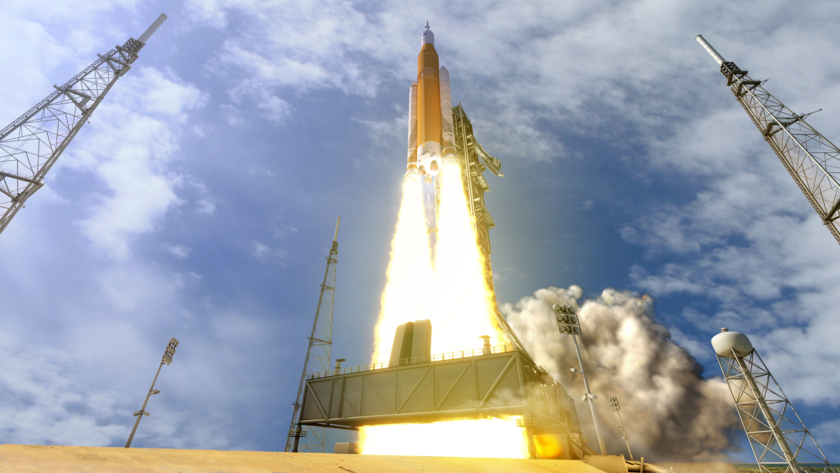 Artist's concept of the Space Launch System lifting off