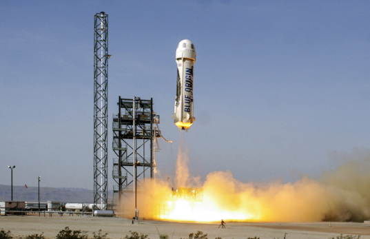 Blue Origin reusable booster flight four, liftoff