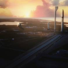 SpaceX interplanetary transport system on launch pad