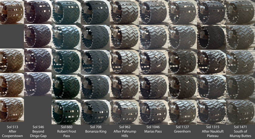 Observations of Curiosity's left-middle wheel from sol 513 to sol 1471