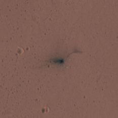 Schiaparelli lander crash site from HiRISE in color