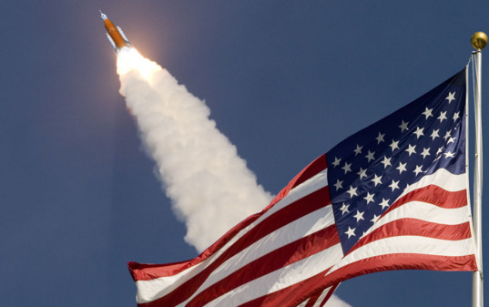 Soaring past the stars and stripes
