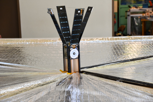 LightSail 2, solar sail deployed, tight shot