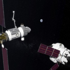Orion approaches the Lunar Gateway (old artist's concept)