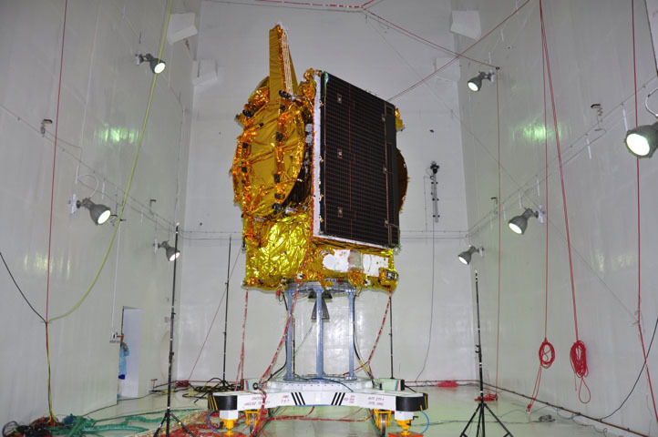 GSAT-19 experimental communications satellite undergoing pre-launch tests