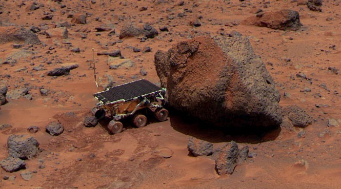 The Sojourner rover examines a Martian rock called Yogi