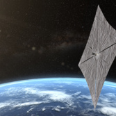 LightSail 2 artist concept with Earth behind