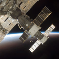 A Soyuz spacecraft docks at the International Space Station