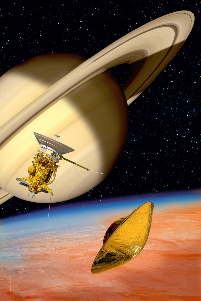 Artist's concept of Cassini-Huygens at Saturn and Titan